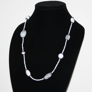 """Pretty silver and white beaded necklace 30"""""""